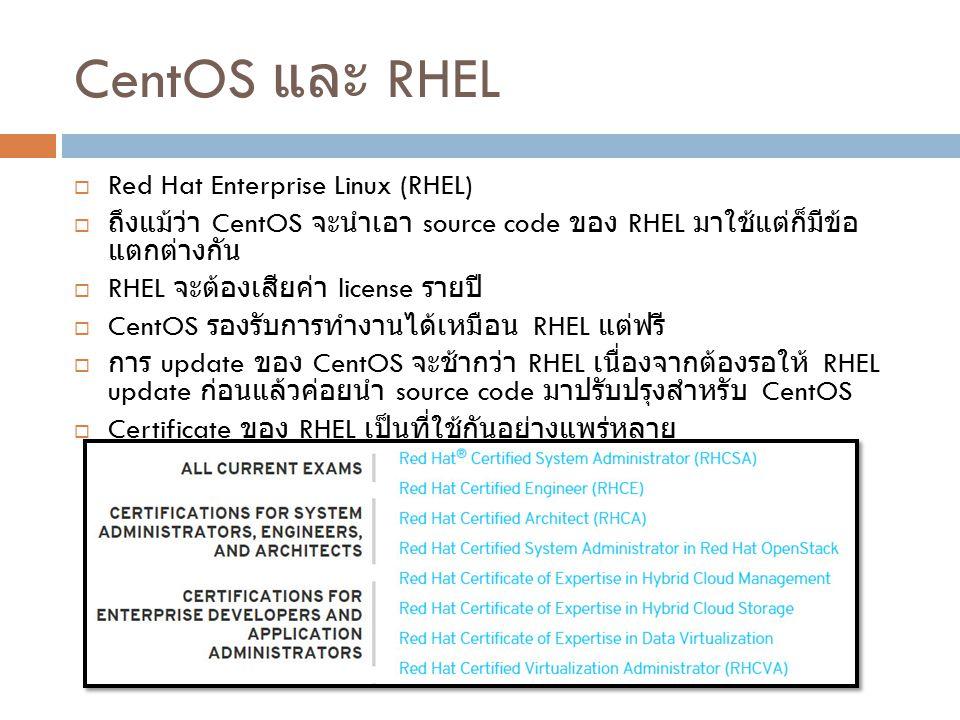 CentOS และ RHEL  Red Hat Enterprise Linux (RHEL)  ถึงแม้ว่า CentOS จะนำเอา source code ของ RHEL มาใช้แต่ก็มีข้อ แตกต่างกัน  RHEL จะต้องเสียค่า lice