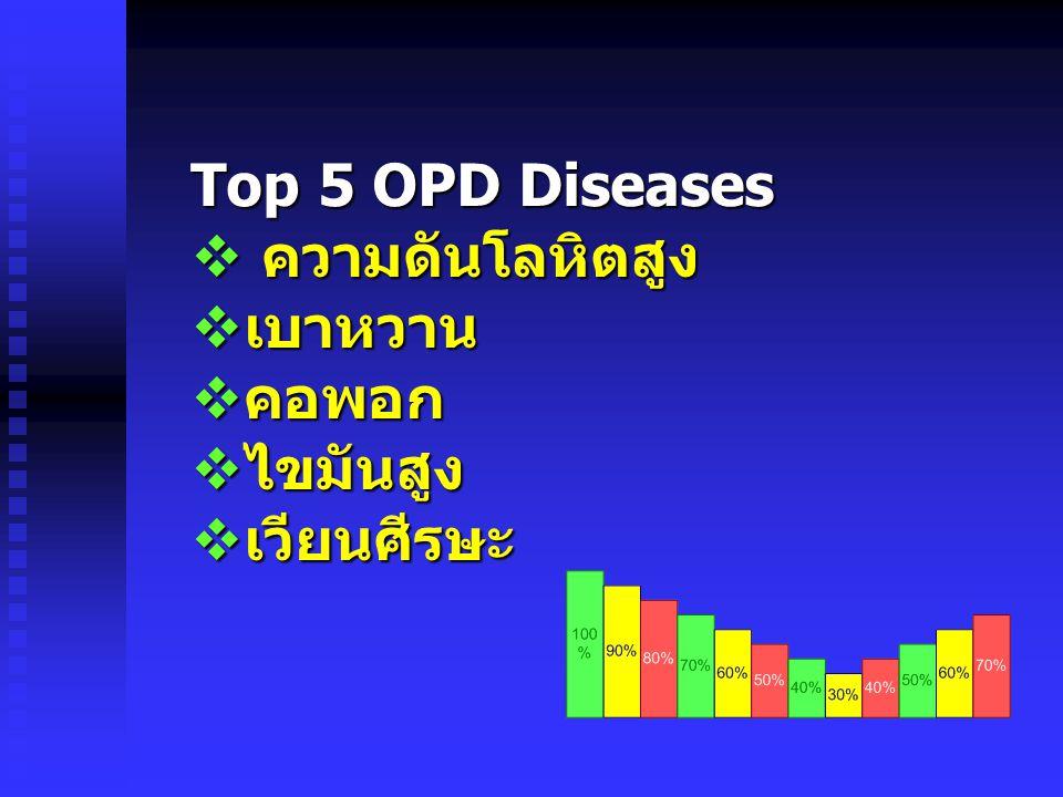 Top 5 OPD Diseases  ความดันโลหิตสูง  เบาหวาน  คอพอก  ไขมันสูง  เวียนศีรษะ