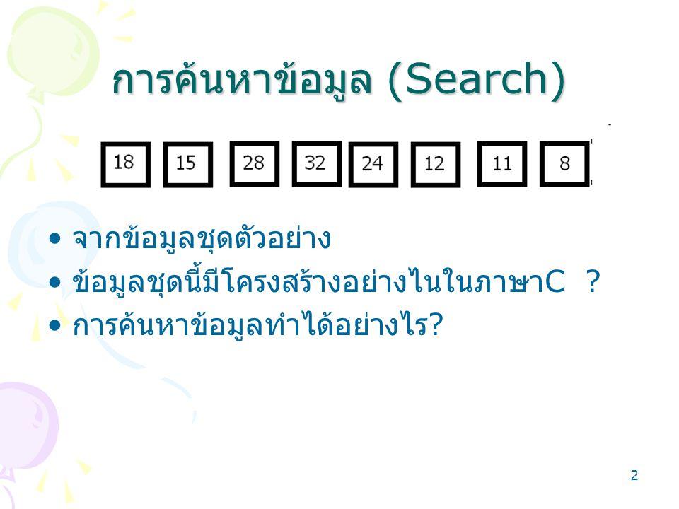 2 การค้นหาข้อมูล (Search) จากข้อมูลชุดตัวอย่าง ข้อมูลชุดนี้มีโครงสร้างอย่างไนในภาษา C ? การค้นหาข้อมูลทำได้อย่างไร ?
