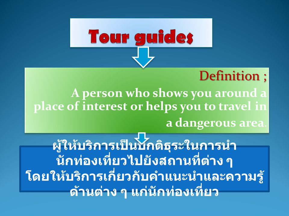 Definition ; A person who shows you around a place of interest or helps you to travel in a dangerous area. Definition ; A person who shows you around