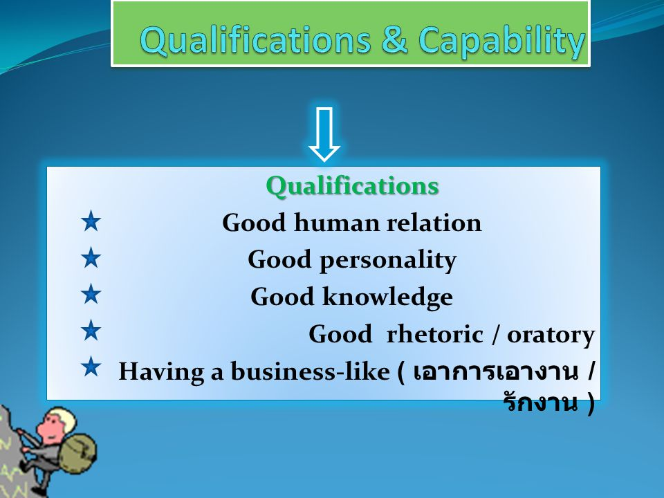 Qualifications Qualifications Good human relation Good personality Good knowledge Good rhetoric / oratory Having a business-like ( เอาการเอางาน / รักง