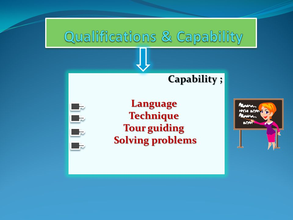 Capability ; Language Language Technique Technique Tour guiding Tour guiding Solving problems Solving problems