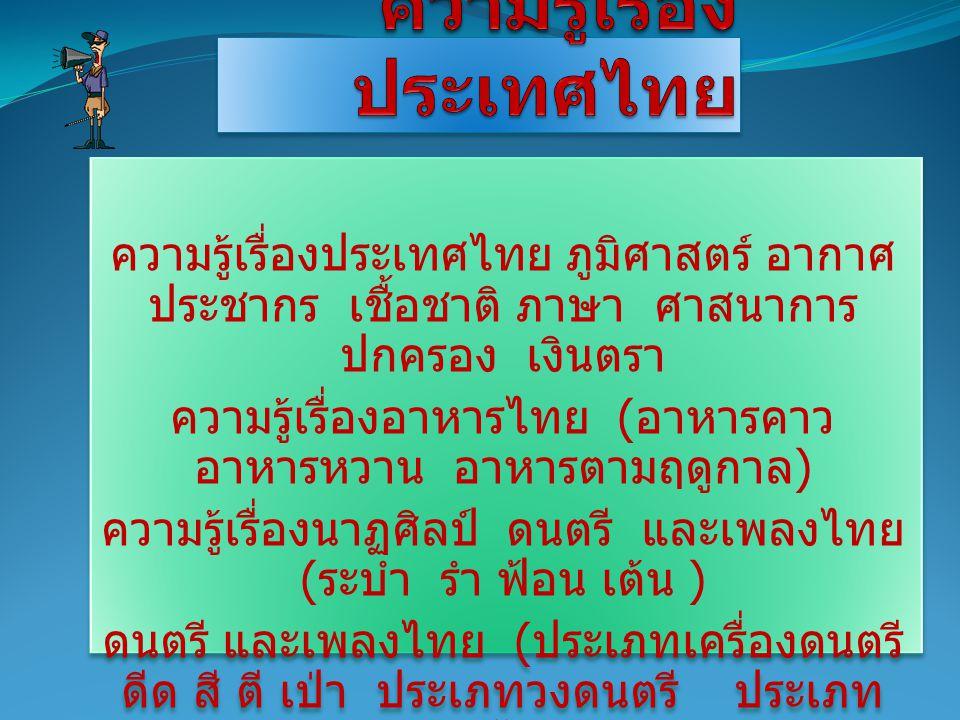 ความรู้เรื่องประเทศไทย ภูมิศาสตร์ อากาศ ประชากร เชื้อชาติ ภาษา ศาสนาการ ปกครอง เงินตรา ความรู้เรื่องอาหารไทย ( อาหารคาว อาหารหวาน อาหารตามฤดูกาล ) ควา
