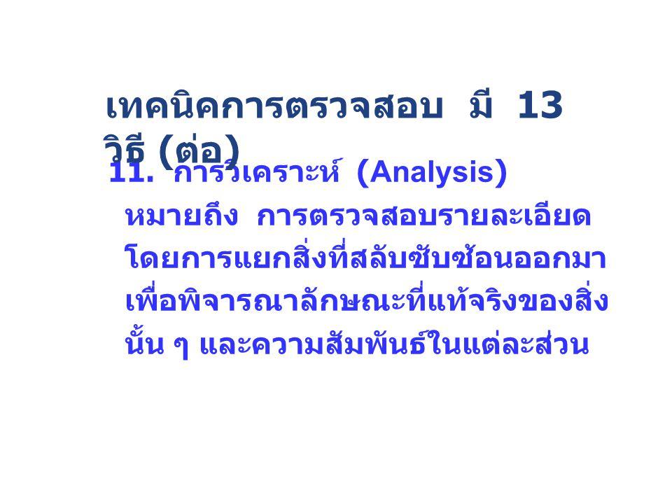 11. การวิเคราะห์ (Analysis) หมายถึง การตรวจสอบรายละเอียด โดยการแยกสิ่งที่สลับซับซ้อนออกมา เพื่อพิจารณาลักษณะที่แท้จริงของสิ่ง นั้น ๆ และความสัมพันธ์ใน