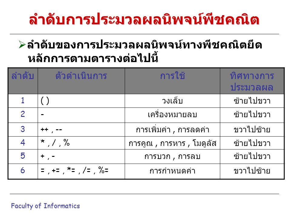  ลำดับของการประมวลผลนิพจน์ทางพีชคณิตยึด หลักการตามตารางต่อไปนี้ Faculty of Informatics ลำดับการประมวลผลนิพจน์พีชคณิต ลำดับตัวดำเนินการการใช้ทิศทางการ ประมวลผล 1( ) วงเล็บซ้ายไปขวา 2- เครื่องหมายลบซ้ายไปขวา 3++, -- การเพิ่มค่า, การลดค่า ขวาไปซ้าย 4*, /, % การคูณ, การหาร, โมดูลัส ซ้ายไปขวา 5+, - การบวก, การลบ ซ้ายไปขวา 6=, +=, *=, /=, %= การกำหนดค่าขวาไปซ้าย