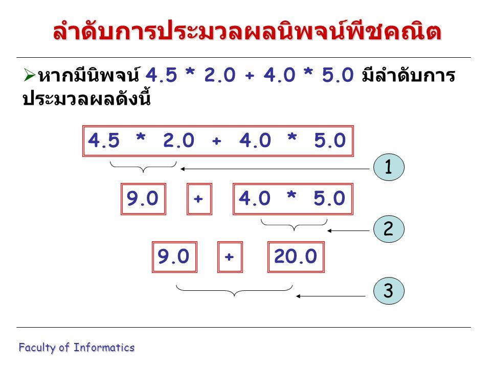  หากมีนิพจน์ 4.5 * 2.0 + 4.0 * 5.0 มีลำดับการ ประมวลผลดังนี้ Faculty of Informatics ลำดับการประมวลผลนิพจน์พีชคณิต 4.5 * 2.0 + 4.0 * 5.0 9.04.0 * 5.0+ 1 9.020.0+ 2 3