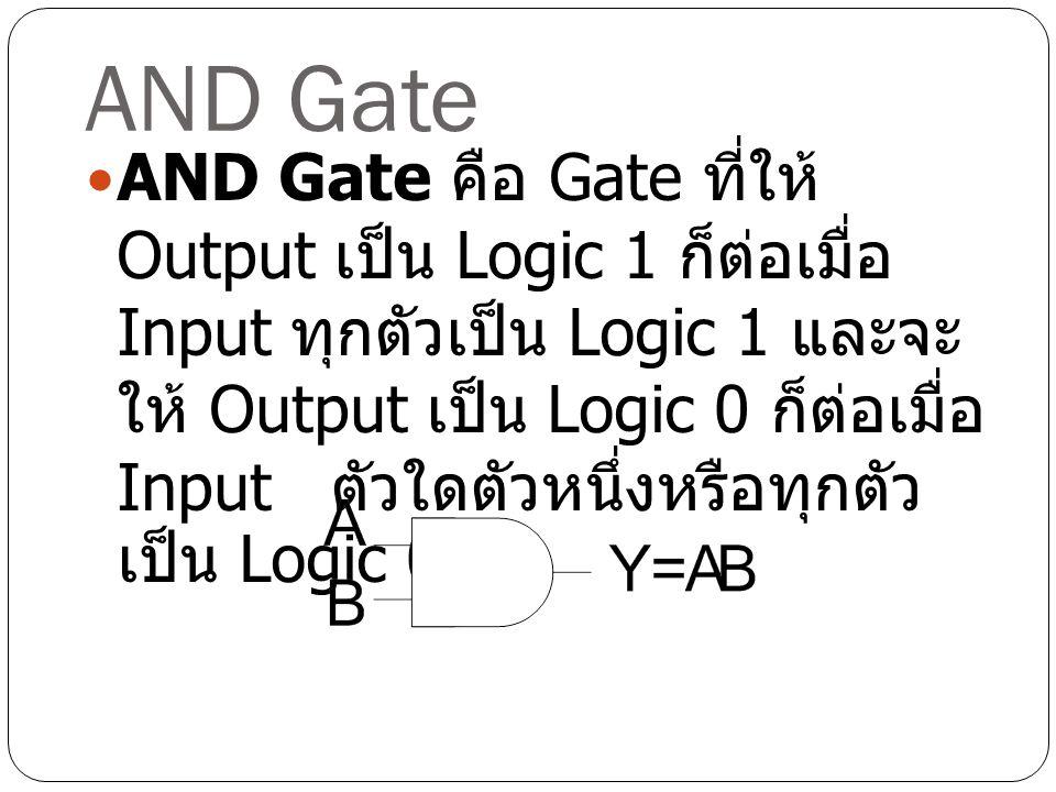 AND Gate AND Gate คือ Gate ที่ให้ Output เป็น Logic 1 ก็ต่อเมื่อ Input ทุกตัวเป็น Logic 1 และจะ ให้ Output เป็น Logic 0 ก็ต่อเมื่อ Input ตัวใดตัวหนึ่ง