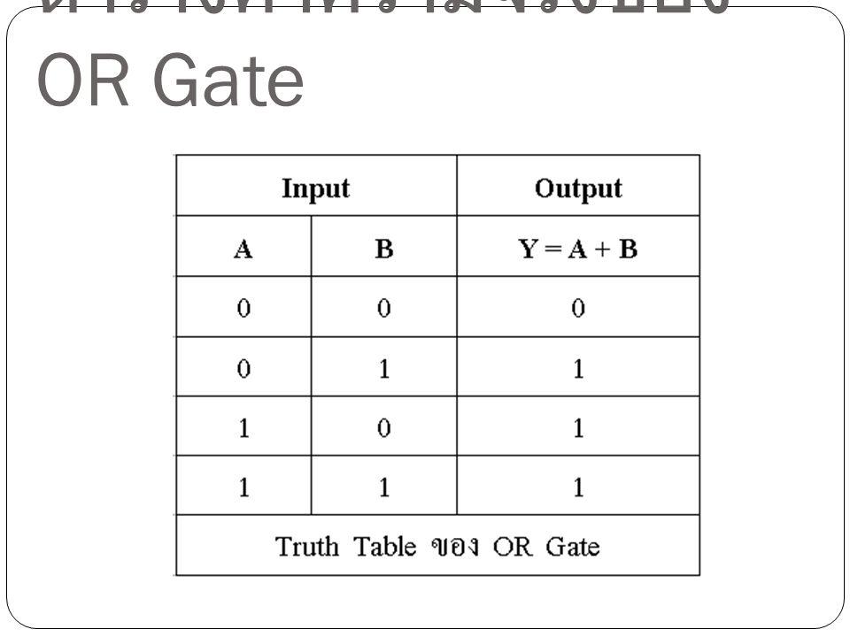 ตารางค่าความจริงของ OR Gate