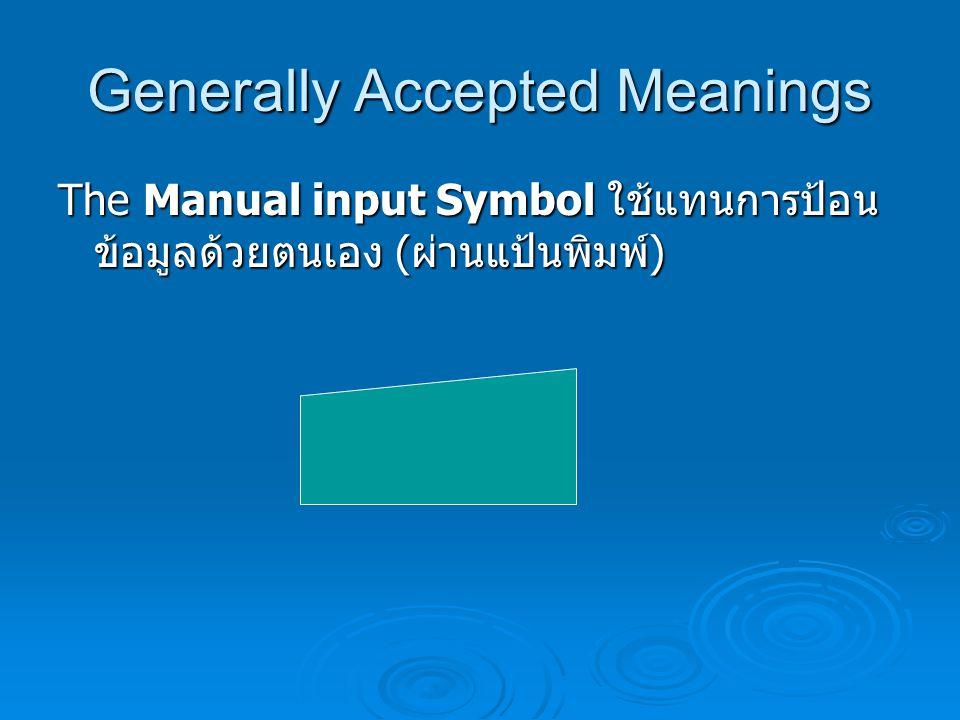 Generally Accepted Meanings The Flow Line Symbol ลูกศรบอกทิศทาง ใช้ บอกทิศทางการไหลของ Flowchart ว่าไปใน ทิศทางใด