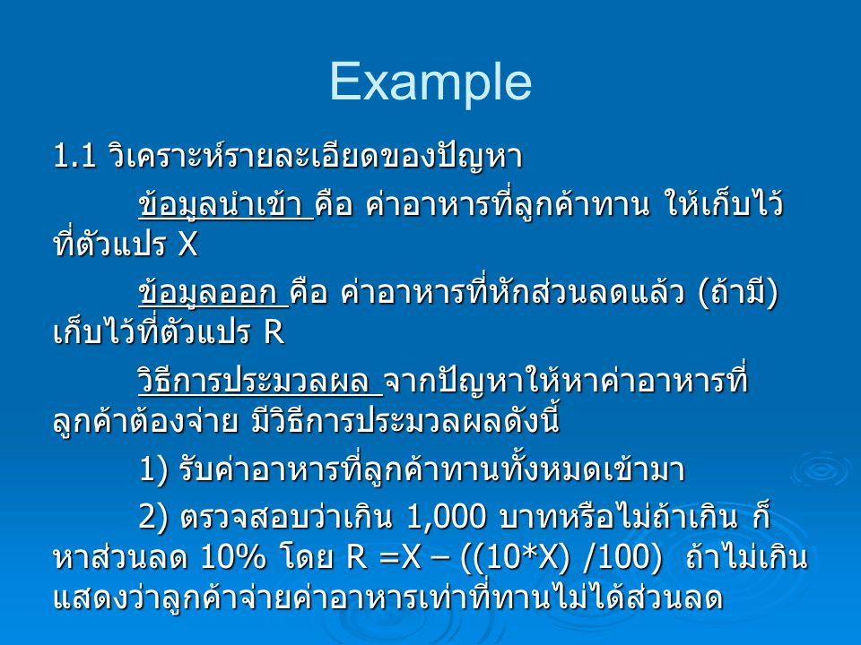 Example 1.1 วิเคราะห์รายละเอียดของปัญหา 3) แสดงผลค่าอาหารที่ลูกค้าต้องจ่ายออก ทางจอภาพ