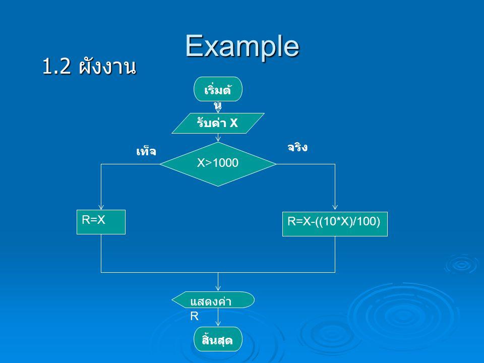 Example เริ่มต้ น รับค่า X X>1000 จริง เท็จ R=X R=X-((10*X)/100) แสดงค่า R สิ้นสุด สมมติ ลูกค้าทาน 800 บาท X = 800 800 > 1000 R = 800