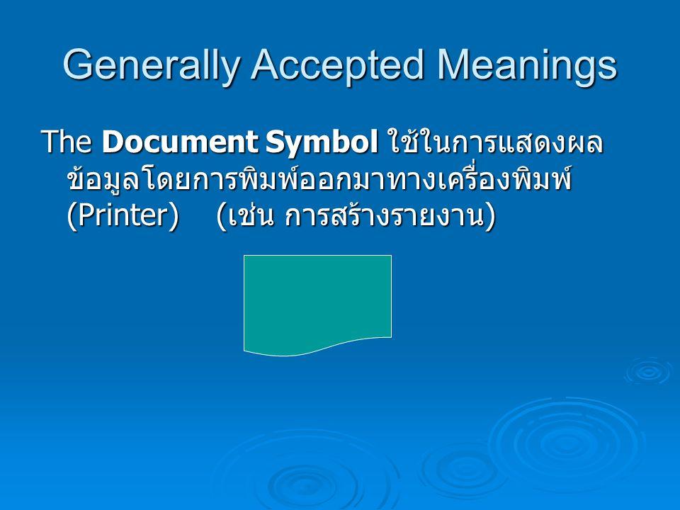 Generally Accepted Meanings Off-page Connector Symbols ใช้เพื่อ เชื่อมต่อผังงานไปหน้าอื่นๆ กรณีที่ผังงานที่ เขียนมีมากกว่า 1 หน้ากระดาษ นิยมเขียน หมายเลขหน้ากำกับในสัญลักษณ์นี้ด้วย