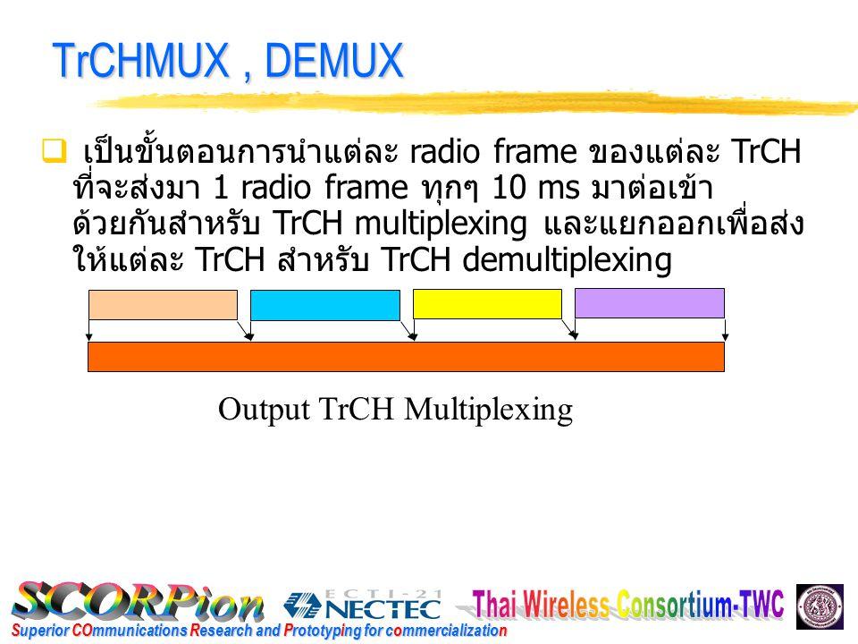Superior COmmunications Research and Prototyping for commercialization TrCHMUX, DEMUX  เป็นขั้นตอนการนำแต่ละ radio frame ของแต่ละ TrCH ที่จะส่งมา 1 radio frame ทุกๆ 10 ms มาต่อเข้า ด้วยกันสำหรับ TrCH multiplexing และแยกออกเพื่อส่ง ให้แต่ละ TrCH สำหรับ TrCH demultiplexing Output TrCH Multiplexing