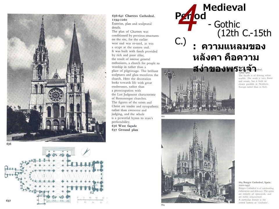Medieval Period - Gothic (12th C.-15th C.) : ความแหลมของ หลังคา คือความ สง่าของพระเจ้า 4