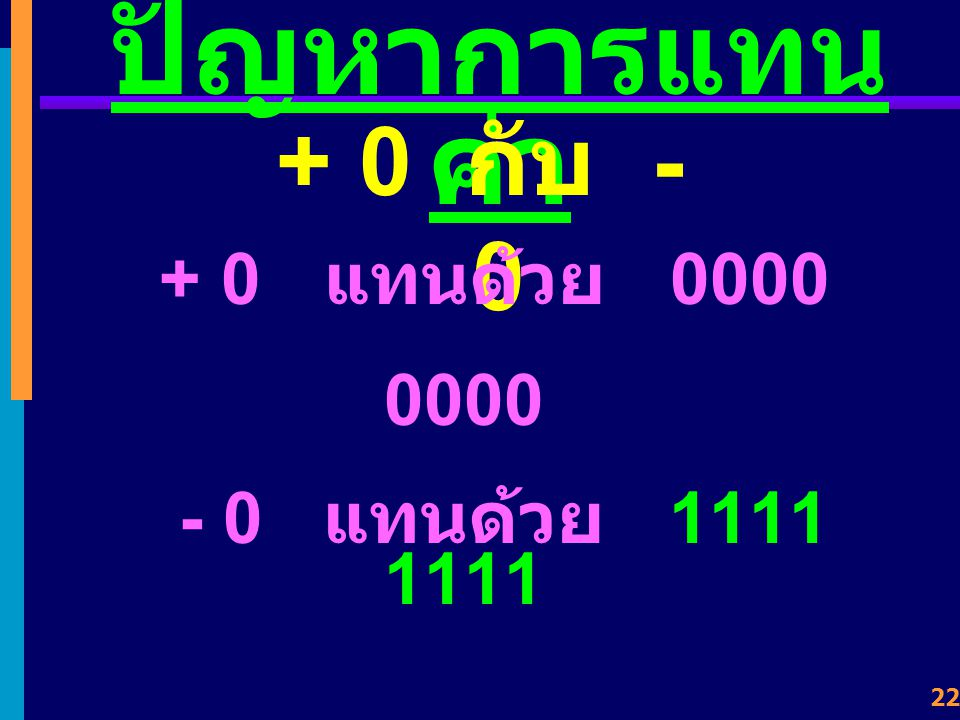 21 1's Complements +65 = 0100 0001 2 6 2 1. ต้องการหาค่า 1's Complement ของ -65 +65 = 0 1 0 0 0 0 0 1 10111100 - 65 +65 = 0100 0001 -- > -65 = 1011 11