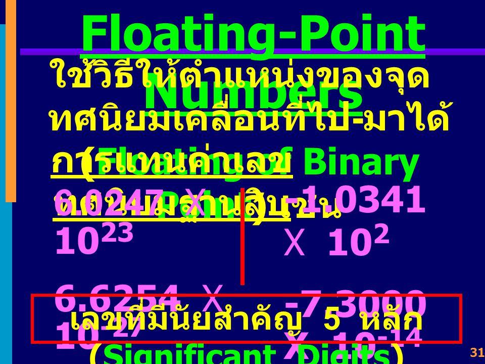 30 หัวข้อเรื่อง Floating- point Numbers Single Precision Double Precision Extended Format