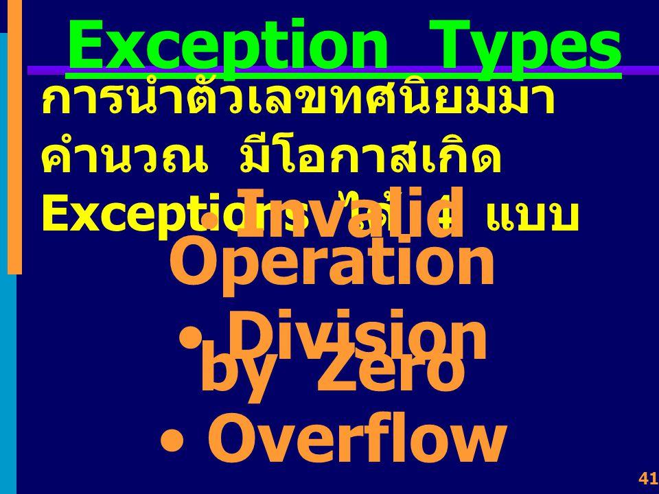40 Exceptions เป็นเหตุการณ์ที่เกิดจากการ คำนวณแล้ว ส่งผลให้เกิด สัญญาณ Interruption ไปแจ้งต่อ CPU ว่าเกิดสิ่ง ใดขึ้น ?