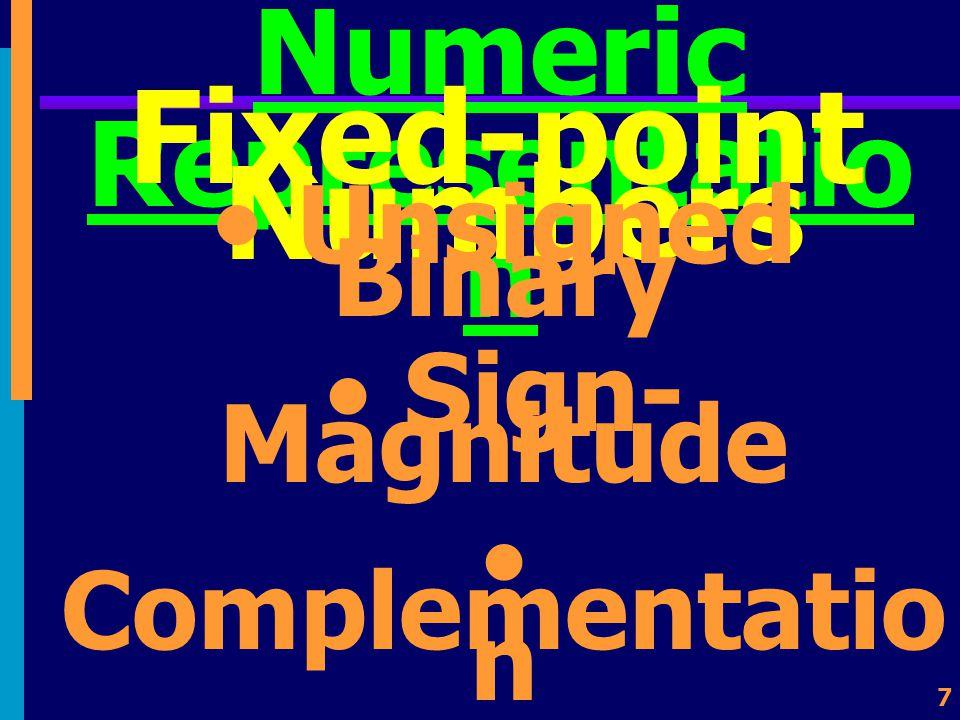 27 Packed Decimal ใช้ 4 บิตในการแทนค่า เลขฐานสิบ 1 หลัก 0000 = 0 0001 = 1 0010 = 2 0011 = 3 0100 = 4 0101 = 5 0110 = 6 0111 = 7 1000 = 8 1001 = 9 ใช้อีก 4 บิตแทนค่า เครื่องหมาย เช่น VAX 1100 แทน บวก และ 1011 แทน ลบ