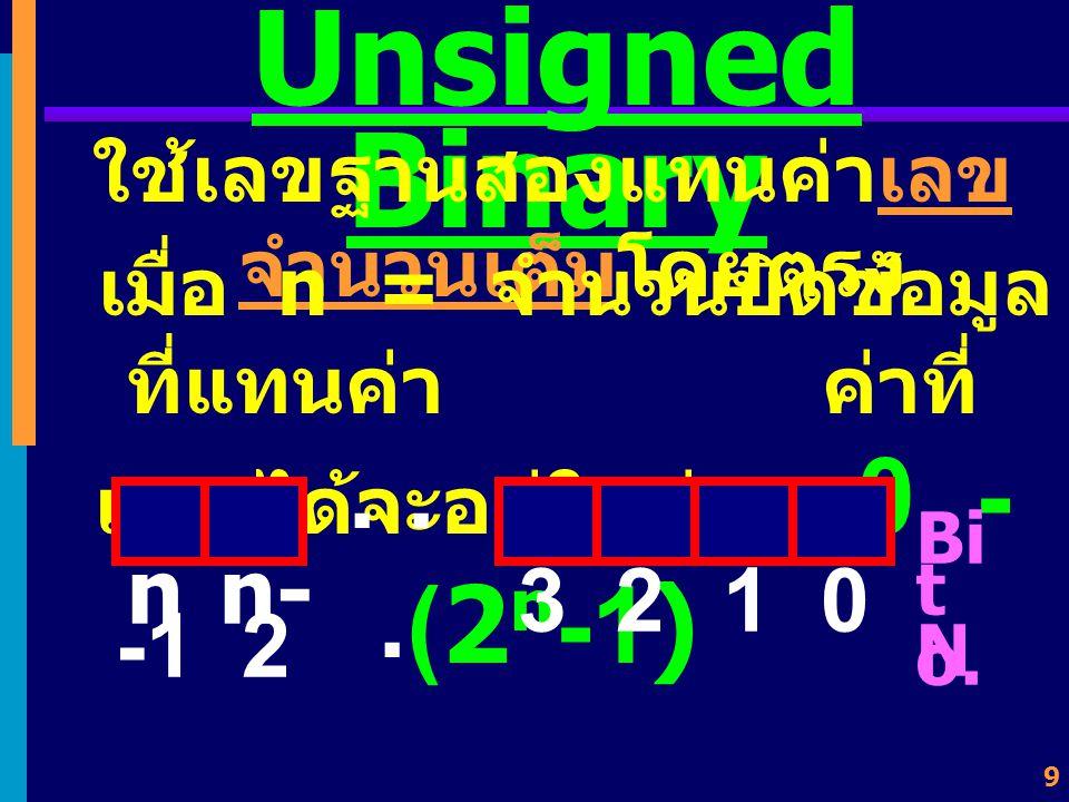 9 Unsigned Binary ใช้เลขฐานสองแทนค่าเลข จำนวนเต็มโดยตรง เมื่อ n = จำนวนบิตข้อมูล ที่แทนค่า ค่าที่ แทนได้จะอยู่ในช่วง 0 - (2 n -1) Bi t N o.