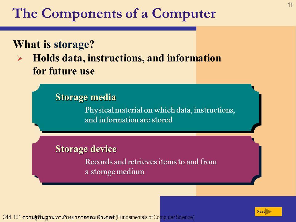 344-101 ความรู้พื้นฐานทางวิทยาการคอมพิวเตอร์ (Fundamentals of Computer Science) 11 The Components of a Computer What is storage.