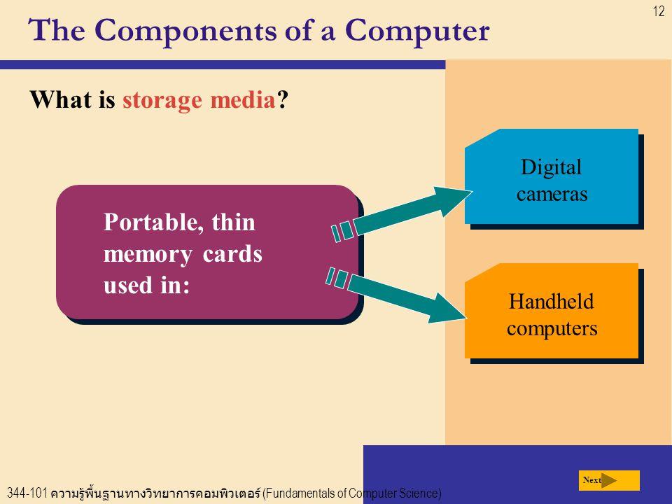 344-101 ความรู้พื้นฐานทางวิทยาการคอมพิวเตอร์ (Fundamentals of Computer Science) 12 The Components of a Computer What is storage media.