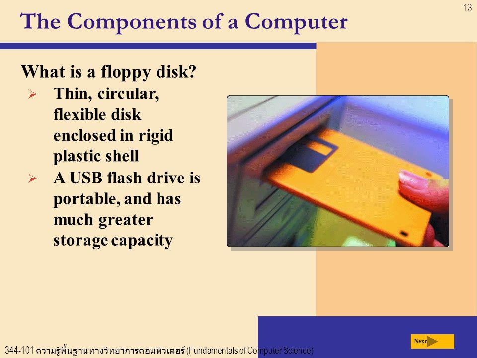 344-101 ความรู้พื้นฐานทางวิทยาการคอมพิวเตอร์ (Fundamentals of Computer Science) 13 The Components of a Computer What is a floppy disk.