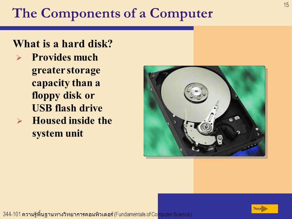 344-101 ความรู้พื้นฐานทางวิทยาการคอมพิวเตอร์ (Fundamentals of Computer Science) 15 The Components of a Computer What is a hard disk.
