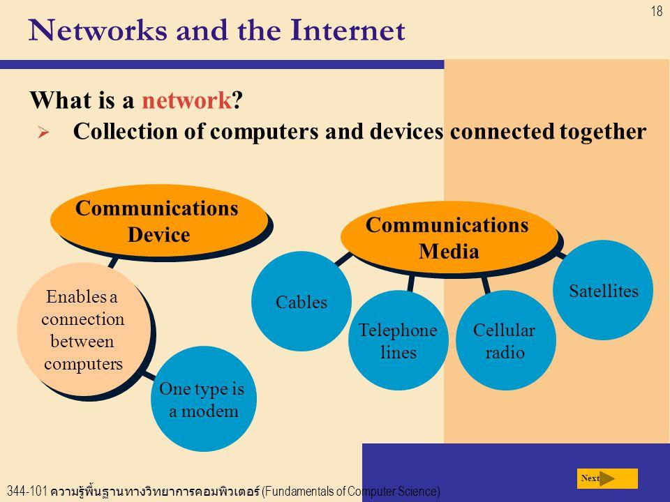 344-101 ความรู้พื้นฐานทางวิทยาการคอมพิวเตอร์ (Fundamentals of Computer Science) 18 One type is a modem Networks and the Internet What is a network.