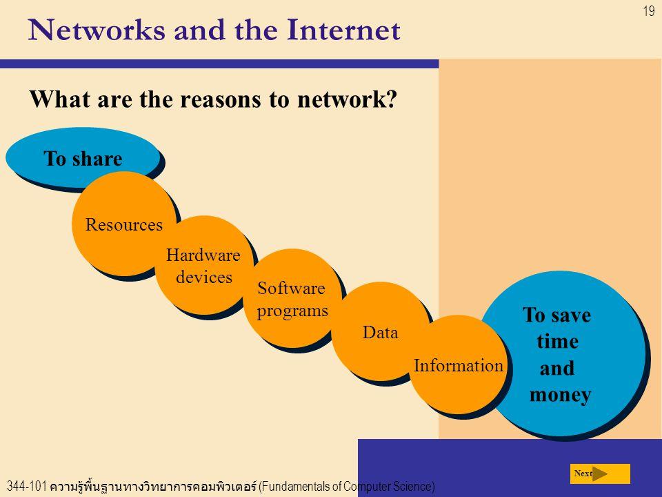 344-101 ความรู้พื้นฐานทางวิทยาการคอมพิวเตอร์ (Fundamentals of Computer Science) 19 To share Networks and the Internet What are the reasons to network.