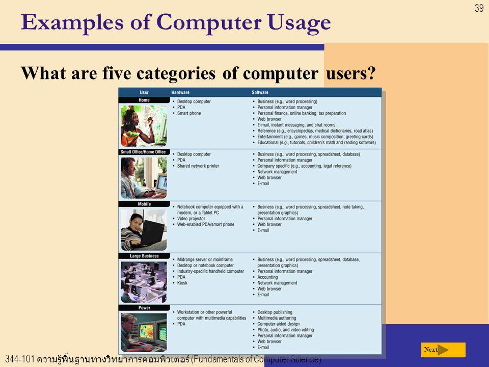 344-101 ความรู้พื้นฐานทางวิทยาการคอมพิวเตอร์ (Fundamentals of Computer Science) 39 Examples of Computer Usage What are five categories of computer users.