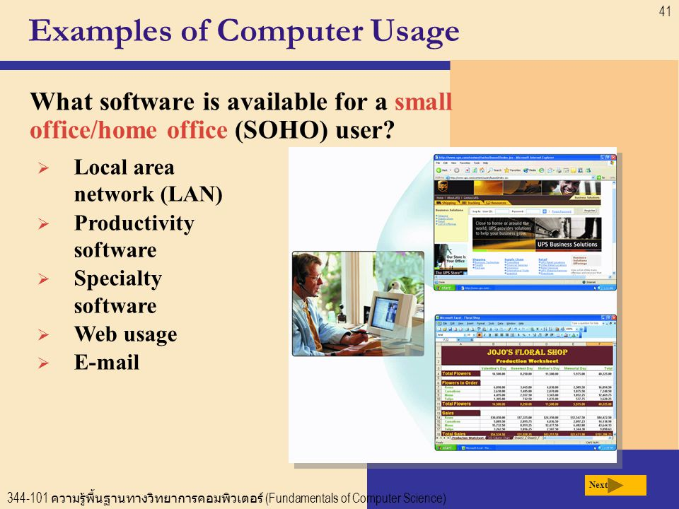 344-101 ความรู้พื้นฐานทางวิทยาการคอมพิวเตอร์ (Fundamentals of Computer Science) 41 Examples of Computer Usage  Local area network (LAN)  Productivity software  Specialty software  Web usage  E-mail Next What software is available for a small office/home office (SOHO) user?