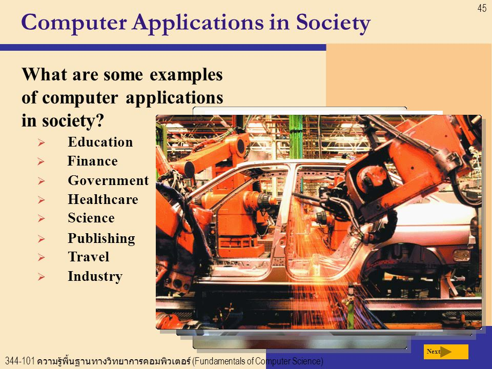 344-101 ความรู้พื้นฐานทางวิทยาการคอมพิวเตอร์ (Fundamentals of Computer Science) 45 Computer Applications in Society What are some examples of computer applications in society.