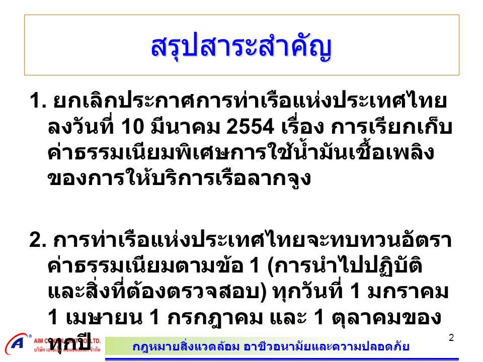กฎหมายสิ่งแวดล้อม อาชีวอนามัยและความปลอดภัย 2 สรุปสาระสำคัญ 1. ยกเลิกประกาศการท่าเรือแห่งประเทศไทย ลงวันที่ 10 มีนาคม 2554 เรื่อง การเรียกเก็บ ค่าธรรม