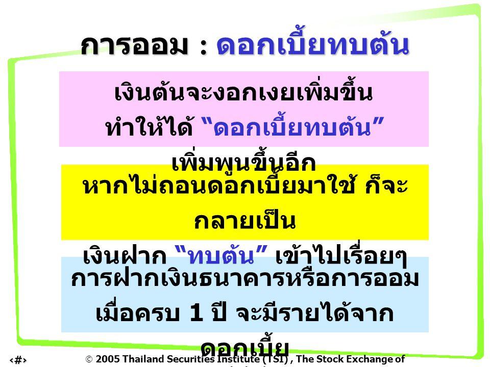  2005 Thailand Securities Institute (TSI), The Stock Exchange of Thailand 6 เรามีเงิน 100 บาท ฝากธนาคารได้ ดอกเบี้ย 10 % หลังจากฝาก 2 ปี เราจะมีเงินทั้งสิ้น 121 บาท วิธีคำนวณ : เงินต้น 100 บาท ปีแรก - ได้ดอกเบี้ย 10 บาท (0.10 x 100 x 1 ปี ) สิ้นสุดปีแรกมีเงินฝากเพิ่มขึ้น 110 บาท ปีที่สอง – ได้ดอกเบี้ย 11 บาท ( จากเงิน ฝากเมื่อสิ้นสุดปีแรก ) สิ้นสุดปีที่สอง มีเงินฝากเป็น 110 + 11 = 121 บาท การออม : ดอกเบี้ยทบต้น