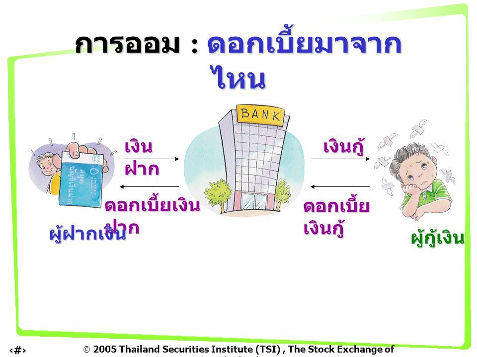  2005 Thailand Securities Institute (TSI), The Stock Exchange of Thailand 7 เงิน ฝาก เงินกู้ ดอกเบี้ยเงิน ฝาก ดอกเบี้ย เงินกู้ ผู้ฝากเงิน ผู้กู้เงิน การออม : ดอกเบี้ยมาจาก ไหน