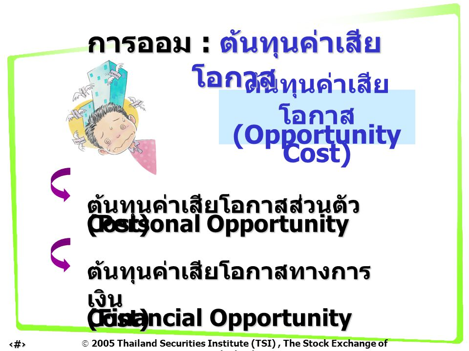  2005 Thailand Securities Institute (TSI), The Stock Exchange of Thailand 9 ต้นทุนค่าเสีย โอกาส (Opportunity Cost) ต้นทุนค่าเสียโอกาสส่วนตัว (Personal Opportunity Cost) ต้นทุนค่าเสียโอกาสทางการ เงิน (Financial Opportunity Cost) การออม : ต้นทุนค่าเสีย โอกาส