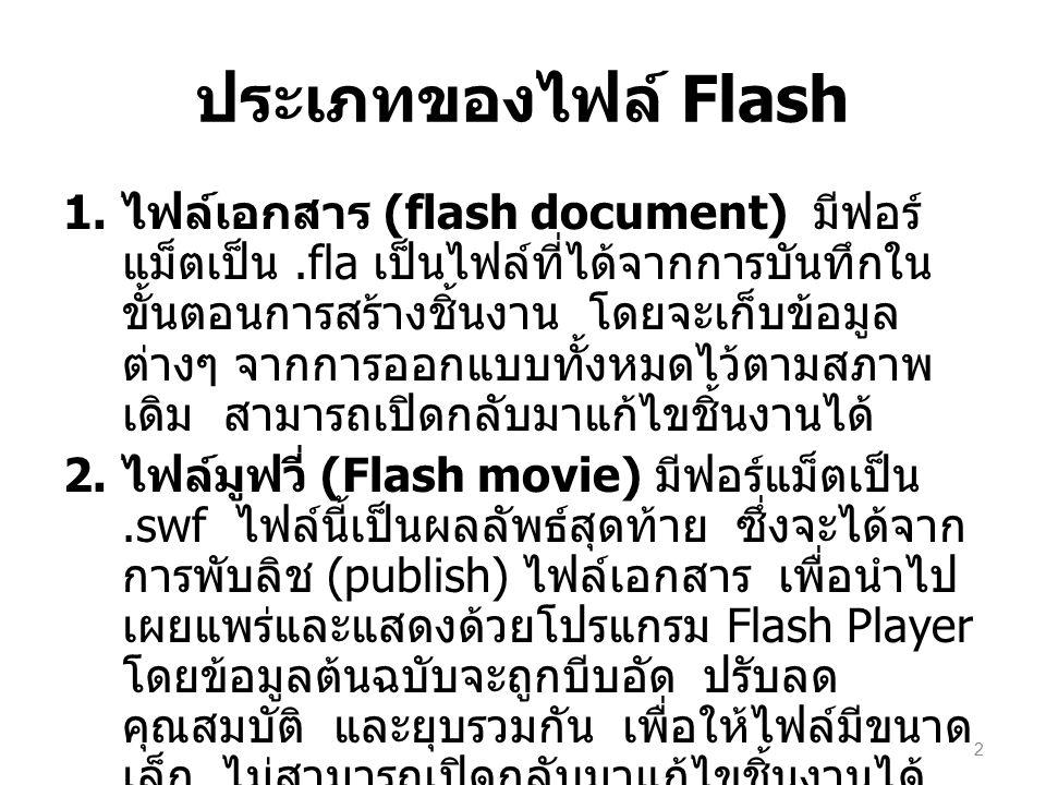 ประเภทของไฟล์ Flash 1. ไฟล์เอกสาร (flash document) มีฟอร์ แม็ตเป็น.fla เป็นไฟล์ที่ได้จากการบันทึกใน ขั้นตอนการสร้างชิ้นงาน โดยจะเก็บข้อมูล ต่างๆ จากกา