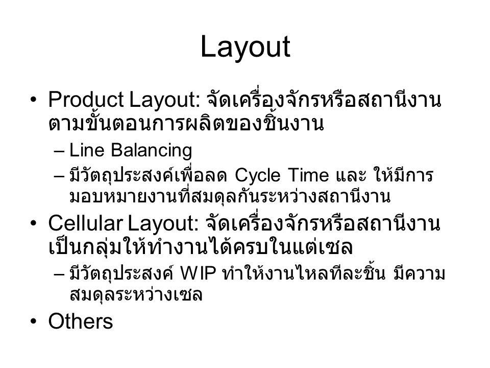 Layout Product Layout: จัดเครื่องจักรหรือสถานีงาน ตามขั้นตอนการผลิตของชิ้นงาน –Line Balancing – มีวัตถุประสงค์เพื่อลด Cycle Time และ ให้มีการ มอบหมายง
