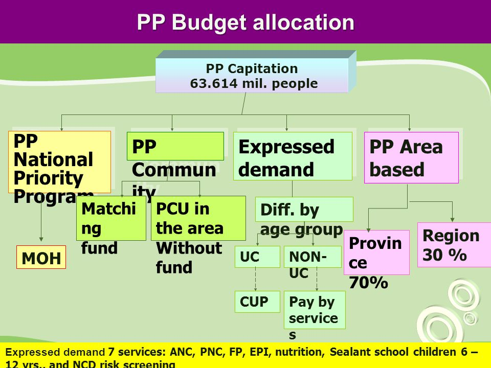 PP Budget allocation PP National Priority Program PP Commun ity Expressed demand PP Capitation 63.614 mil.