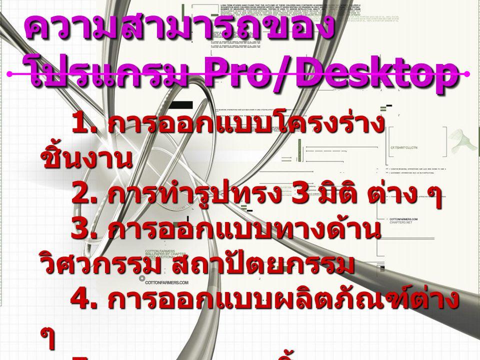 จุดเด่นของโปรแกรม Pro/DESKTOP จุดเด่นของโปรแกรม Pro/DESKTOP  โปรแกรม Pro/DESKTOP ง่ายต่อการใช้งาน พอสมควร และสามารถฝึกทักษะด้าน กระบวนการคิดสร้างสรรค