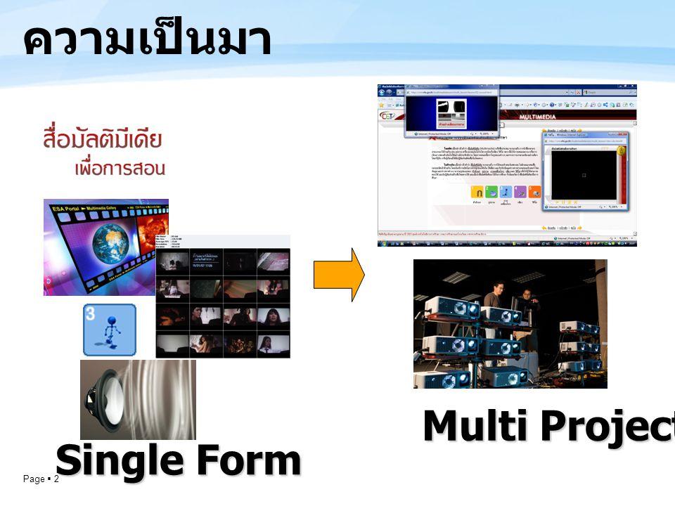 Page  2 ความเป็นมา Multi Projector Single Form