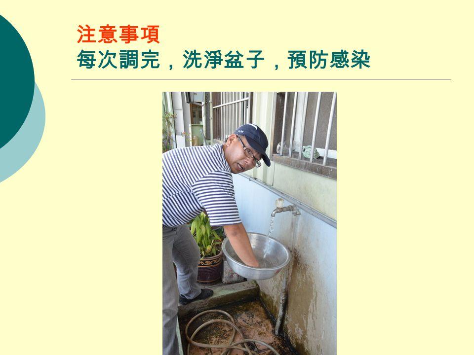 注意事項 每次調完,洗淨盆子,預防感染