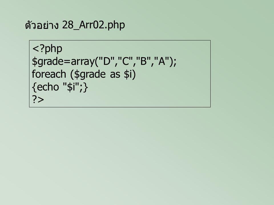 ตัวอย่าง <?php $grade=array( A , B , C , D ); $grade[4]= F ; $grade[]= I ; $grade[]= S ; foreach($grade as $i) {echo $i ;} ?> 28_Arr03.php