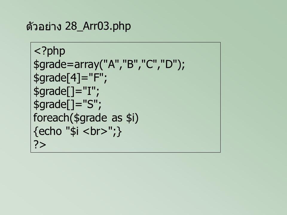 ตัวอย่าง <?php $MyStr= ABCDEF ; $i=0; while(!($MyStr[$i]== )) {echo $MyStr[$i] ; $i++; } ?> 28_Arr04.php