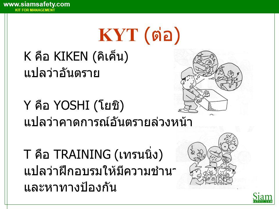 www.siamsafety.com KIT FOR MANAGEMENT KYT ( ต่อ ) K คือ KIKEN ( คิเค็น ) แปลว่าอันตราย Y คือ YOSHI ( โยชิ ) แปลว่าคาดการณ์อันตรายล่วงหน้า T คือ TRAINING ( เทรนนิ่ง ) แปลว่าฝึกอบรมให้มีความชำนาญ และหาทางป้องกัน