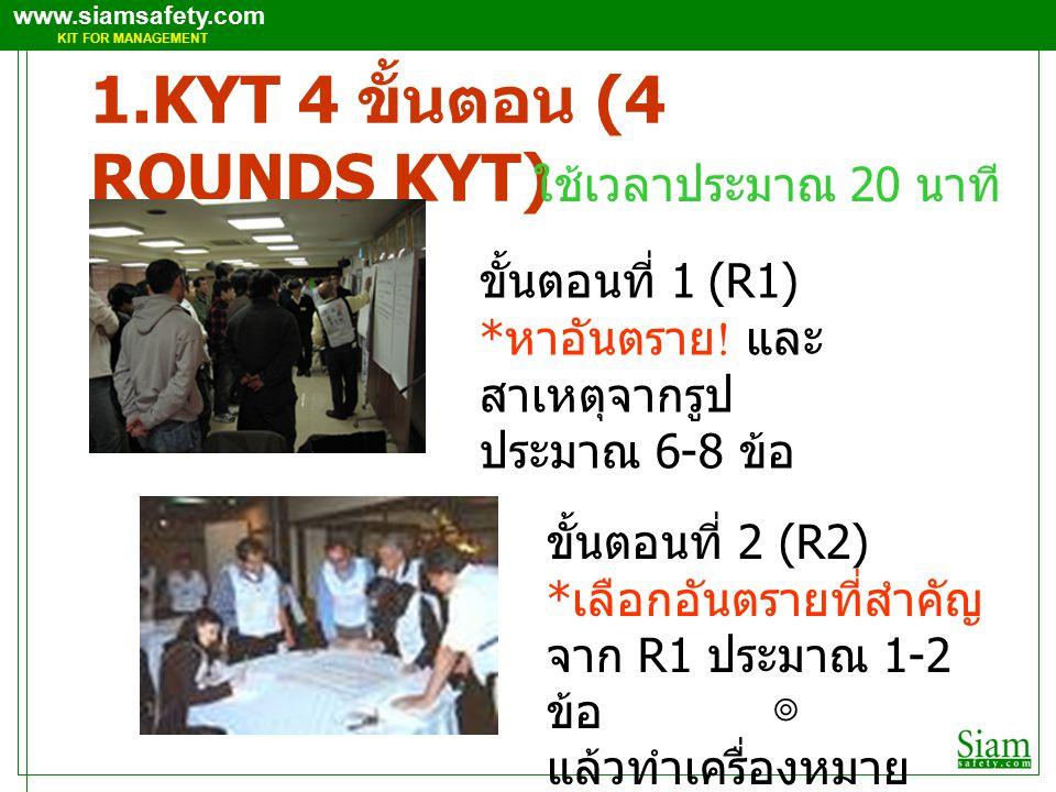 www.siamsafety.com KIT FOR MANAGEMENT 1.KYT 4 ขั้นตอน (4 ROUNDS KYT) ขั้นตอนที่ 1 (R1) * หาอันตราย .