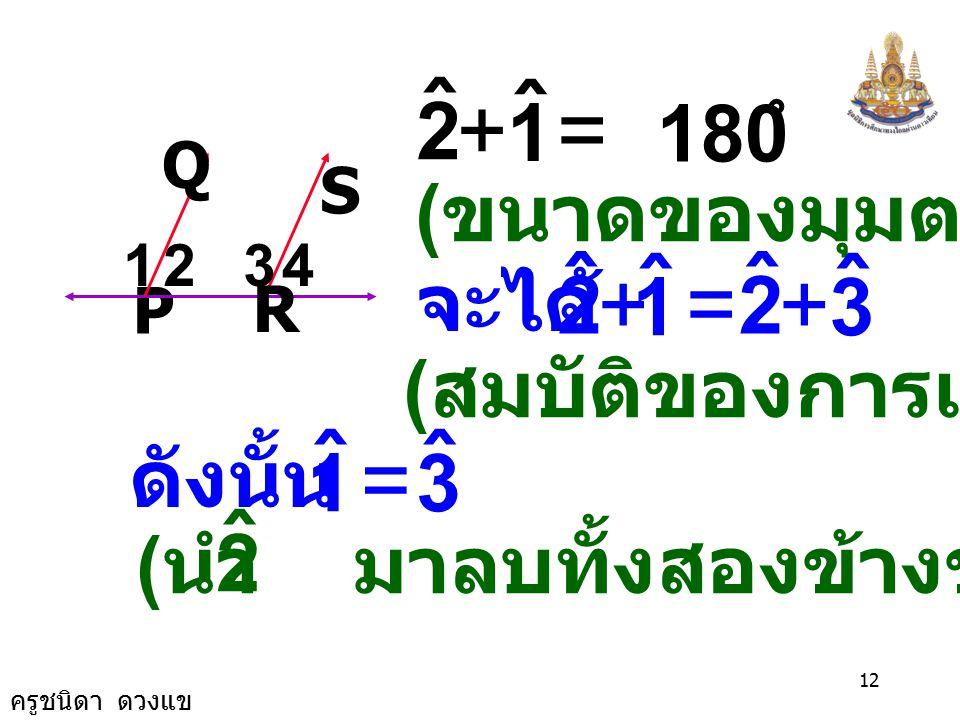 ครูชนิดา ดวงแข 11 P R S Q 1234 กำหนดให้ PQ // RS มี เป็นเส้นตัด PRPR ต้องการพิสูจน์ว่า พิสูจน์ PQ // RS มี เป็นเส้นตัด PRPR ( กำหนดให้ ) ( ขนาดมุมภายใ