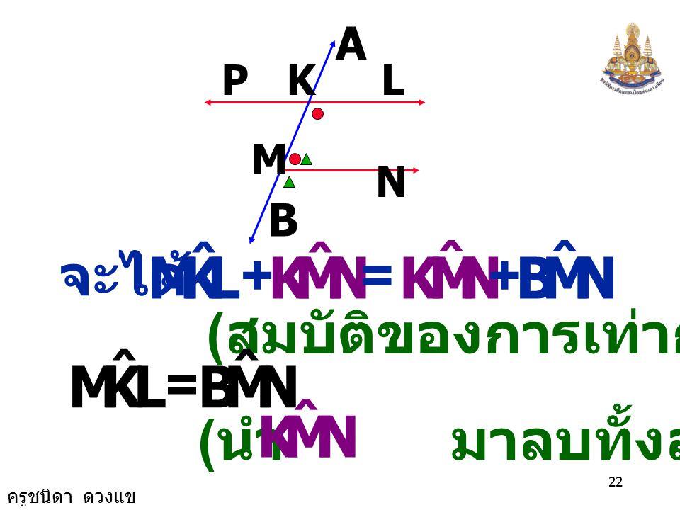 ครูชนิดา ดวงแข 21 M N LKP A B ( ขนาดมุมภายในบน ข้างเดียวกันของเส้นตัด เส้นขนานรวมกันเท่า กับ 180 ) ( ขนาดของมุมตรง ) LKM ˆ NMK ˆ += 180 0 NMK ˆ NMB ˆ