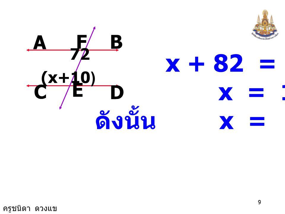 ครูชนิดา ดวงแข 8 A FB D E C 72 (x+10) 2) วิธีทำ เนื่องจาก AB // CD จะได้ x +10+72 = 180 ( ขนาดของมุม ภายในที่อยู่บนข้าง เดียวกันของเส้นตัด เส้นขนานรวม