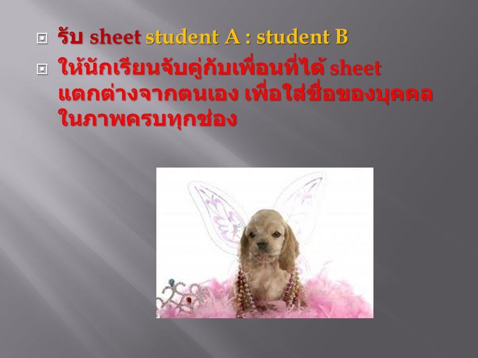  รับ sheet student A : student B  ให้นักเรียนจับคู่กับเพื่อนที่ได้ sheet แตกต่างจากตนเอง เพื่อใส่ชื่อของบุคคล ในภาพครบทุกช่อง
